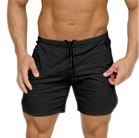 Shorts Mens Bermuda 2018 Summer Men Beach Hot Cargo Simple Letter Solid - BLACK XL