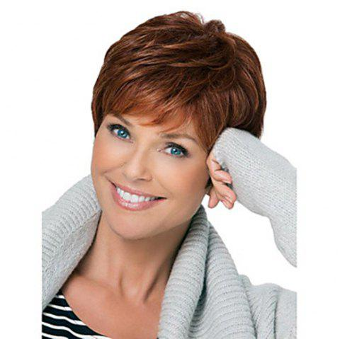 Human Hair Capless Wigs Medium Auburn Short Wig for Women - 030 6 INCHES