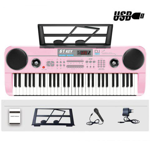 61 Keys Electronic Keyboard Piano with Microphone Adapter Music-Stand LCD - LIGHT PINK OVERSIZE