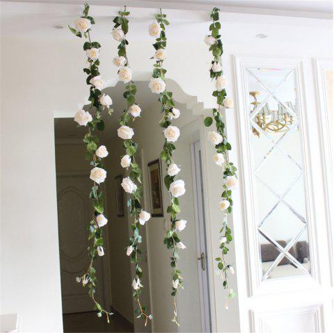 1PC Rose Artificial Flowers Home Wedding Garden Wall Hanging Flower Decorations - WARM WHITE