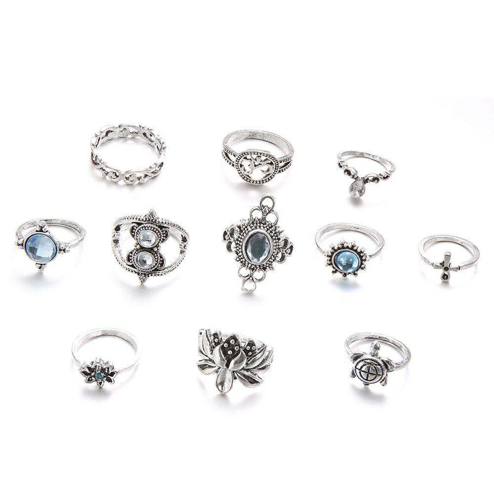 Image of 11 PCS/Set Vintage Lotus Turtle Rings Set for Women Crystal Boho Jewelry Ring