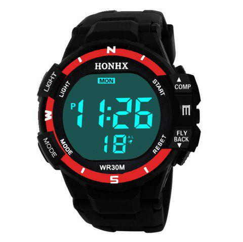HONHX Fashion LED Men Waterproof Sports Digital Electronic Watch - RED