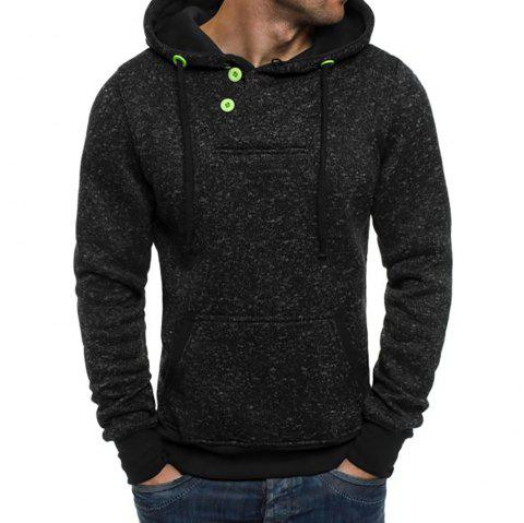 Men's Round Neck Casual Cationic Long Sleeve Hoodie - BLACK L
