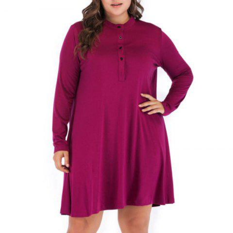 Solid Color Round Collar Loose Casual Long Sleeve Dress - DARK CARNATION PINK 5XL