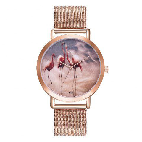 Creative Simple Oil Painting Ostrich Quartz Mesh Belt Watch - ROSE GOLD