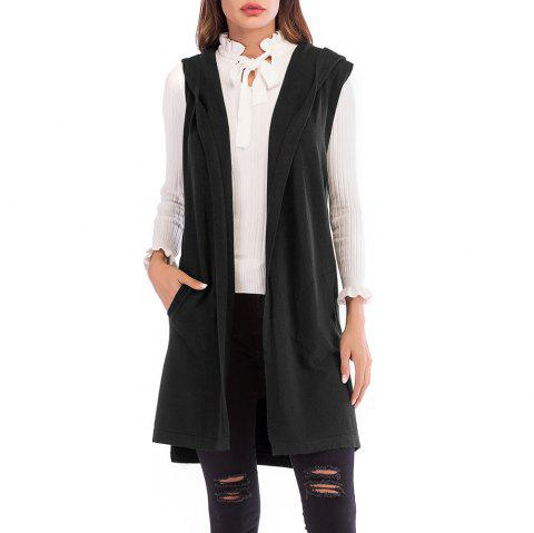 Women'S Wild Solid Color Sleeveless Knitted Cardigan Jacket Hooded Sweater Coat - BLACK XL
