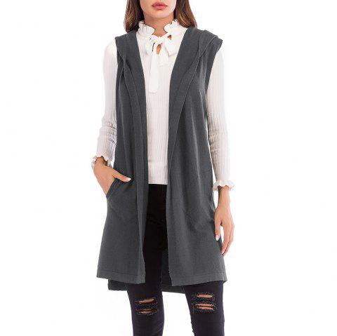 Women'S Wild Solid Color Sleeveless Knitted Cardigan Jacket Hooded Sweater Coat - CARBON GRAY L