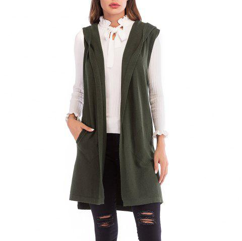 Women'S Wild Solid Color Sleeveless Knitted Cardigan Jacket Hooded Sweater Coat - ARMY GREEN L