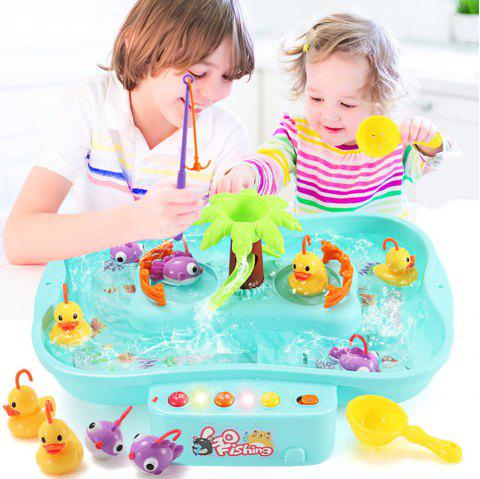 Puzzle Electric Rotary Fishing Table Can Add Water with Children'S Song Toys - BLUE ZIRCON