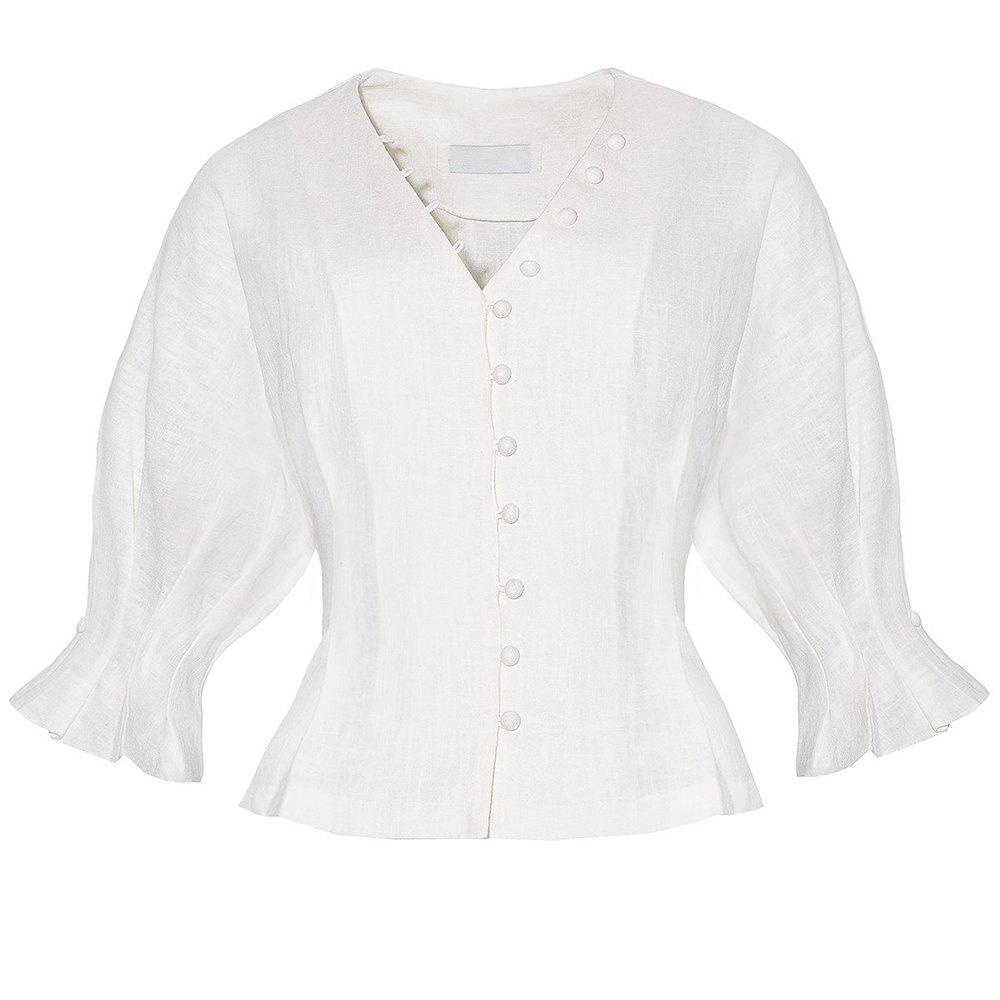 HAODUOYI Simple Design with Sleeves Button-Shaped Button Top Shirt - COOL WHITE M