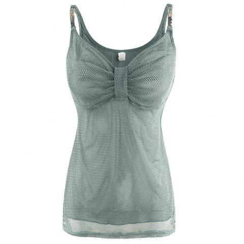 MISSOMO Sexy V-Neck Chest Pleated Solid Color Flower Metal Camisole - CYAN OPAQUE M