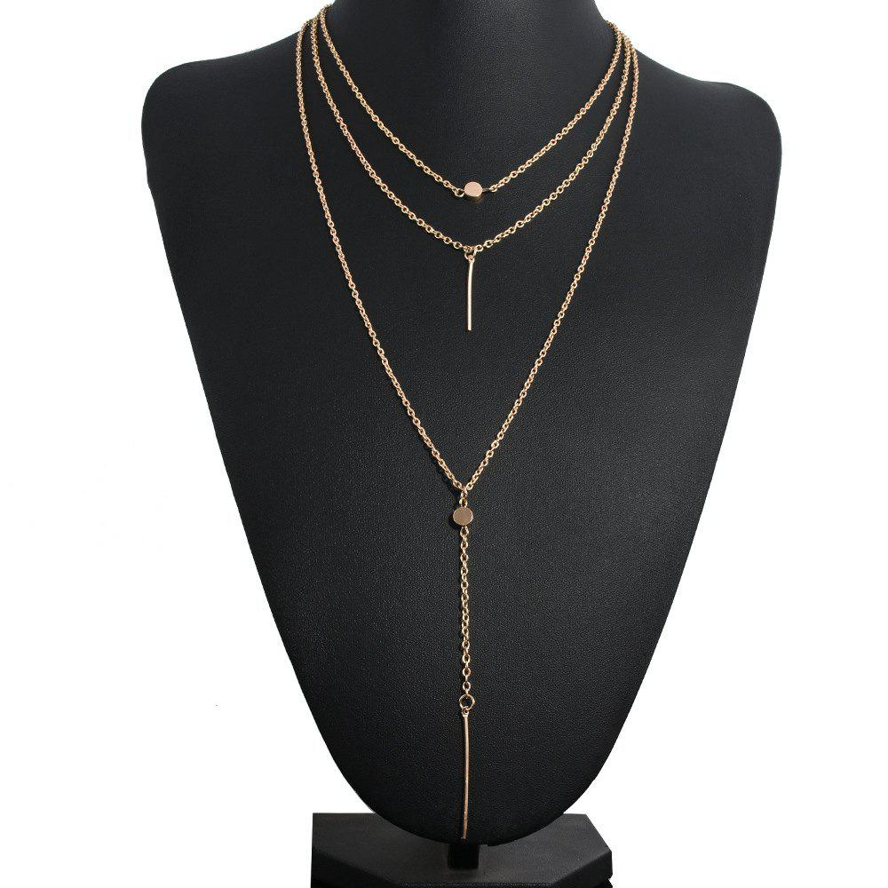 European Style Fashion Simple Small Dot Metal Bar Three-Layer Necklace