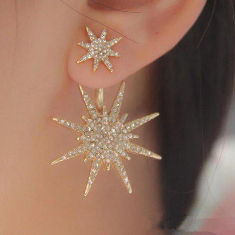 European Style Fashion Simple Shiny Rhinestone Star Single Earrings - GOLD 1PC