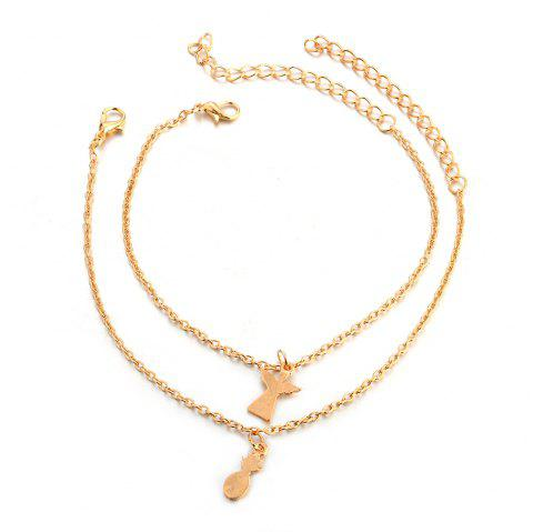 2-PIECE Women'S Fashion New Beach Pineapple Angel Anklet - GOLD 1 SET