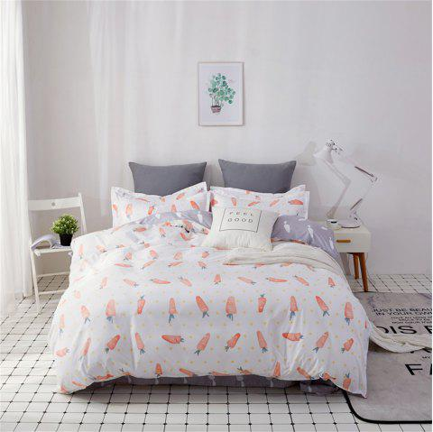 OMONNES Four Sets of Bed Fresh and Simple Sheets Quilt Carrot - WHITE SINGLE