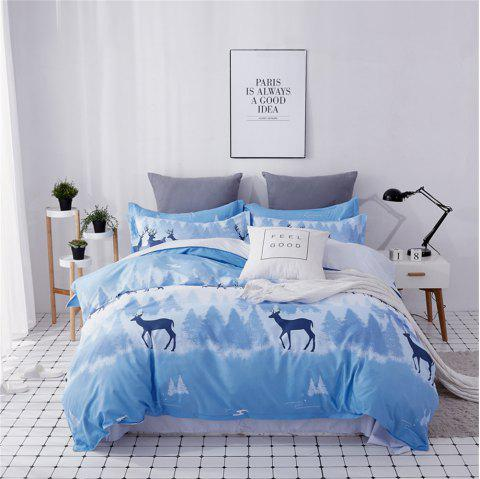 OMONNES Four Pieces of Bed Fresh and Simple Sheets Quilt Phantom Deer Shadow - CRYSTAL BLUE QUEEN SIZE
