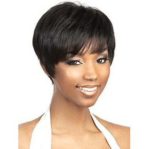 Short Capless Human Hair Black Color Wig for Women - NATURAL BLACK 6 INCHES