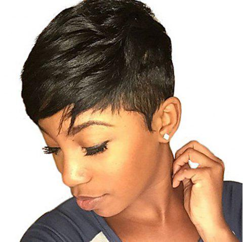 Short Haircut Black Color Human Hair Capless Wig for Ladies - NATURAL BLACK 6 INCHES