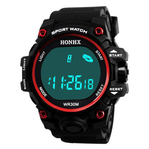 HONHX Luxury Top Brand Men Digital LED Display Sports Fitness Watch - RED