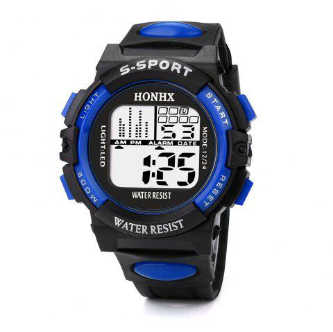 HONHX Luxury Men Sports Waterproof Digital LED Military Watch - BLUE