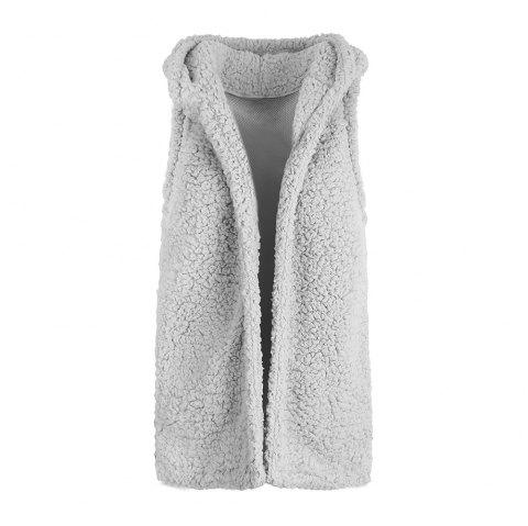 Women's Fashion Cardigan Sleeveless Fur Hooded Vest - LIGHT GRAY M