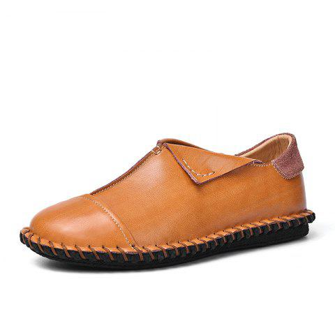 Casual Leather Shoes with Soft Bottom - LIGHT BROWN EU 41