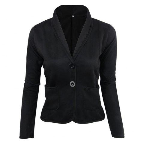 Slim-Fitting Small Suit Jacket - BLACK 1XL