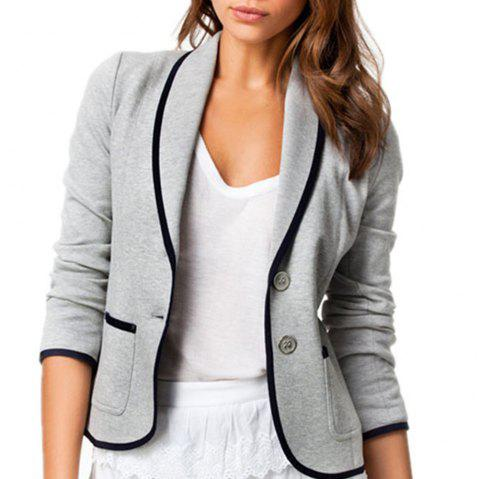 Slim-Fitting Small Suit Jacket - LIGHT GRAY S