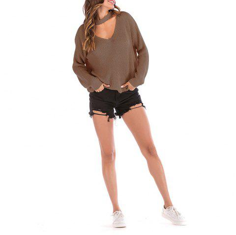 Women Halter V-Neck Loose Sweater - DEEP COFFEE M