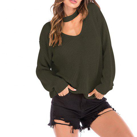 Women Halter V-Neck Loose Sweater - ARMY GREEN L