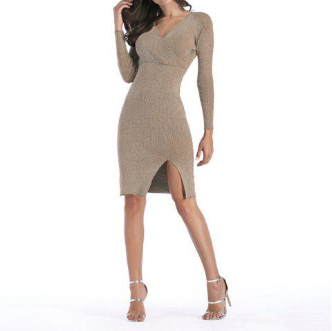 Long Deep V-Neck Sweater Dress - BLANCHED ALMOND M