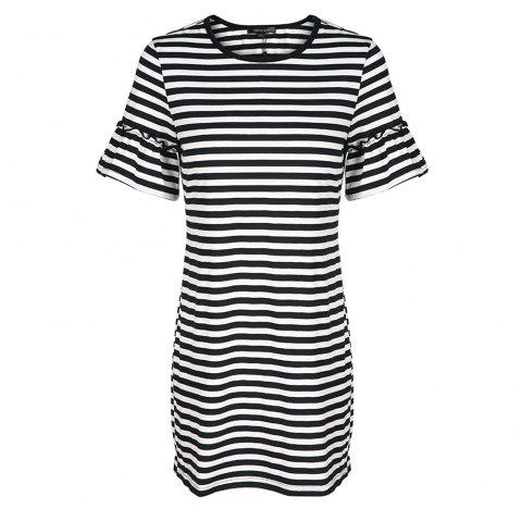 HAODUOYI Women's Stylish Sweet Loose Knit Striped Crew Neck Dress Multicolor - multicolor A XL