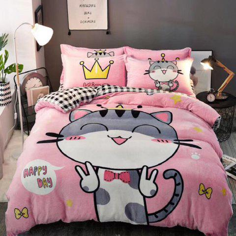 Flannel Cartoon Bedding Set Full Size - LIGHT PINK DOUBLE