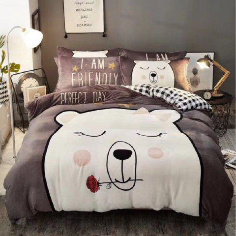 Flannel Cartoon Bedding Set Full Size - RED DIRT TWIN SIZE