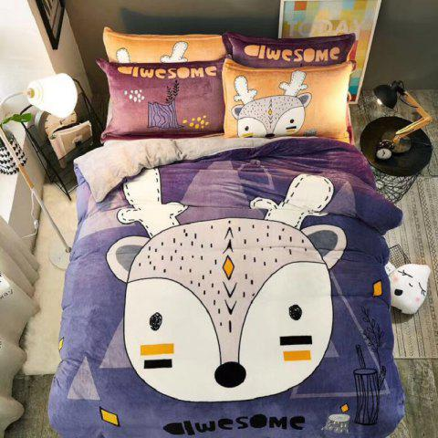 Flannel Cartoon Bedding Set Full Size - MARBLE BLUE TWIN SIZE