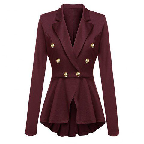 Casual Double Breasted Long Sleeved Little Suit Girl - RED WINE XL