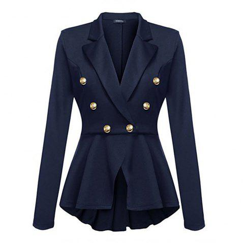 Casual Double Breasted Long Sleeved Little Suit Girl - DEEP BLUE S
