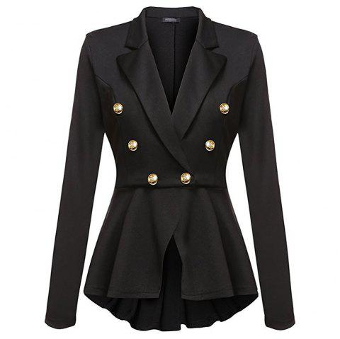Casual Double Breasted Long Sleeved Little Suit Girl - BLACK M