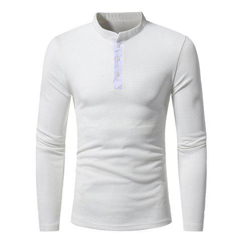 new  Fashion personality  men's classic leisure  long sleeved T-shirt - WHITE L