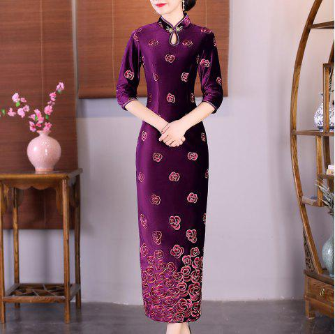 Fashion Slim Aristocratic Fans Chinese Style Elegant Cheongsam - RED M