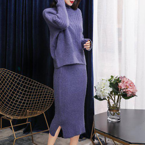 High Collar Blouse with Hip Split Skirt Knitted Suit - MEDIUM PURPLE ONE SIZE