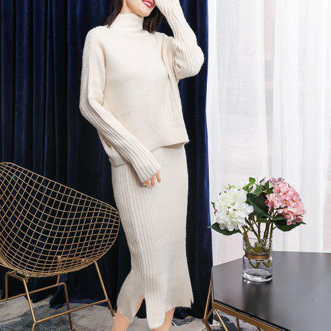 High Collar Blouse with Hip Split Skirt Knitted Suit - APRICOT ONE SIZE