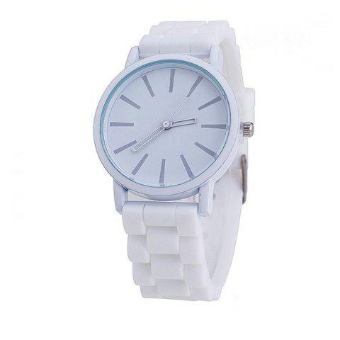 Montre de quartz de couleur bonbon mignon occasionnel simple de silicone - Blanc