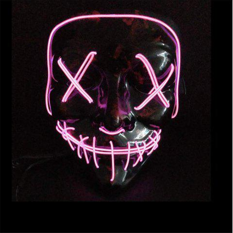 Clubbing Light Up Stitches LED Mask Costume Halloween Rave Cosplay Party Purge - MAUVE