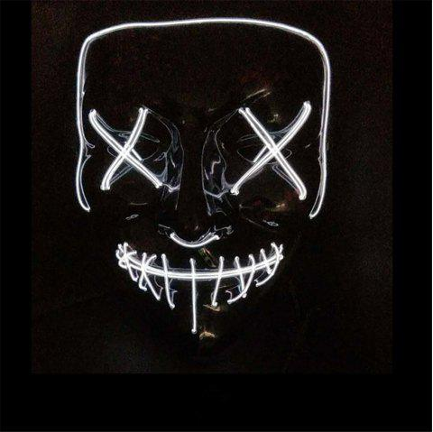Clubbing Light Up Stitches LED Mask Costume Halloween Rave Cosplay Party Purge - WHITE