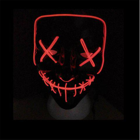 Clubbing Light Up Stitches LED Mask Costume Halloween Rave Cosplay Party Purge - VALENTINE RED