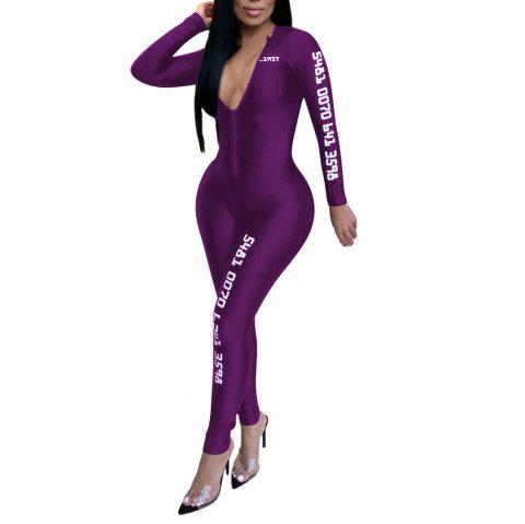 Fashion Sexy Solid Color with Letter Print Sports Tight Jumpsuits - PURPLE XL