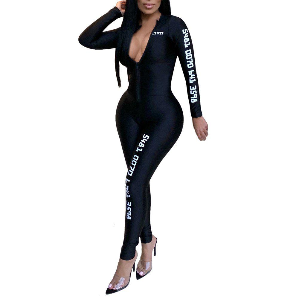 Fashion Sexy Solid Color with Letter Print Sports Tight Jumpsuits - BLACK L