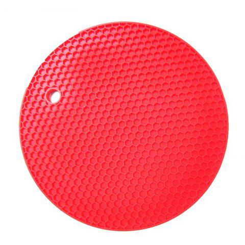 Insulation Pads Silica Gel Round Small Honeycomb Table Mat Bowl Pad Coaster Hea - RED