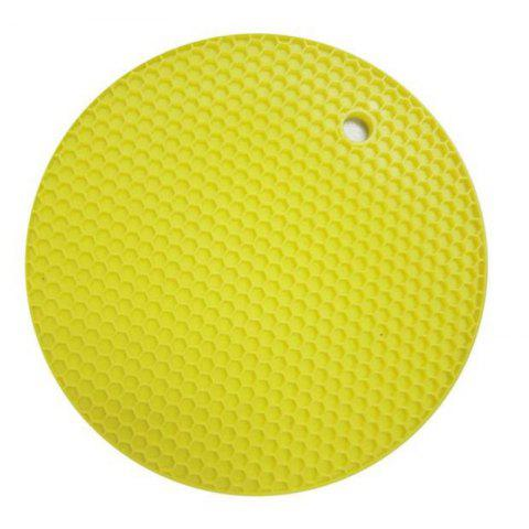 Insulation Pads Silica Gel Round Small Honeycomb Table Mat Bowl Pad Coaster Hea - YELLOW